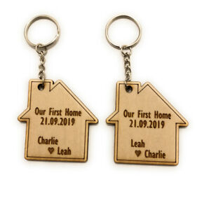 2 x Personalised Keyrings Our First Home Wooden Gift House Warming