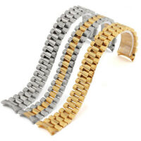 Curved Screw Solid Stainless Steel Bracelet Jubilee Replacement Watch Band Strap
