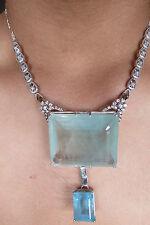 Gigantic Huge 247 ct aquamarine 1ct diamond & 14k white gold SS necklace choker