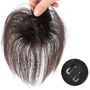 100% Human Hair Topper Clip in Thin Hairpiece Toupee Top Pieces Wiglet 15cm 20cm