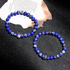 2Pcs King Queen Crown Couple Bracelets Blue Imperial Jasper Distance Bracelets