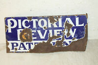 ANTIQUE Porcelain Advertising Flange PICTORIAL REVIEW PATTERNS DOUBLE SIDED Sign