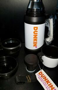 Dunkin Donuts Stainless 32oz Hot Cold Travel Mug Thermos Coffee Tea 2 cups white