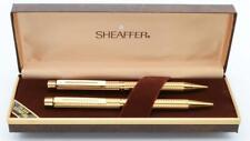 Sheaffer Targa 1007 Ballpoint & Pencil Set - Gold Plated Geometric (NOS in Box)