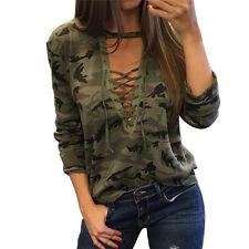 Sexy Women V-Neck Lace Up Camo T-Shirt Long Sleeve Casual Loose Blouse ShirtBIUJ