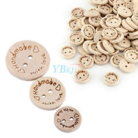 "100pcs 2 Holes Wood Buttons Sewing Scrapbooking DIY Craft ""handmade""""with love"""