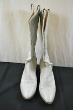 Vintage cowboy boots white leather womens size 7 1/2 M Acme 1501 #6