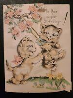 Vtg 1930s Rust Craft Birthday Greeting Card Sweet Kittens Swing Cherry Blossoms