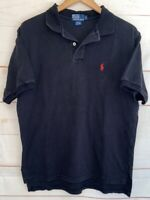 Men's POLO BY RALPH LAUREN Collared Short Sleeve 100% Cotton T Shirt Black Large