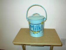 """VTG Folk Art HAND PAINTED  COVERED Tin/Metal Milk Can cannister 10 1/2"""" X 7 1/2"""""""