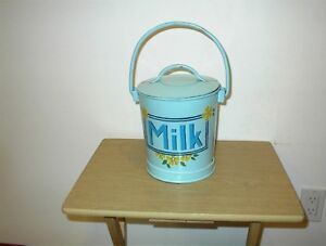 "VTG Folk Art HAND PAINTED  COVERED Tin/Metal Milk Can cannister 10 1/2"" X 7 1/2"""