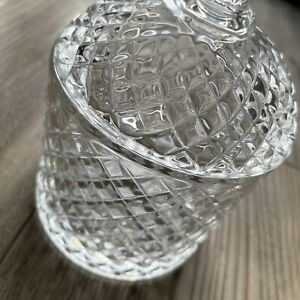 Vintage Heavy Cut Glass Sweet / Bonbon Jar / Container With Lid