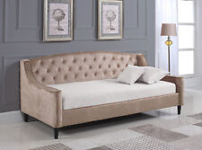 Brand New Velvet Fabric Dream DayBed Champagne With Wooden Sprung Slats