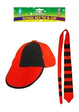 Adults School Boy Red & Black Cap And Tie Set Unisex Stag Night Hen Fancy Dress.