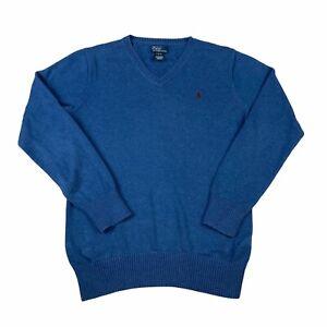 Polo Ralph Lauren Jumper Boys Age 14 16 Blue V Neck Pullover Sweater