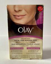 Olay Smooth Finish Facial Hair Removal Duo 1 Kit Medium to Coarse Hair New- BOLO