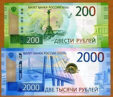 Set Russia, 200;2000 rubles, 2017 P-New, Aa-Pref. Unc > Crimea, Rocker Launch