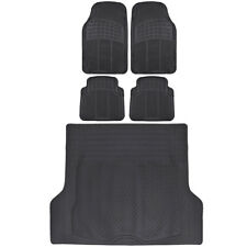 Black Durable All-Weather Rubber Floor Mats + Trimmable Trunk Cargo Liner 5PC