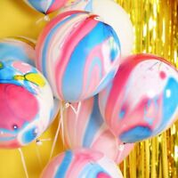 10PCS RAINBOW PARTY BALLOONS FUNKY COLOURED MARBLE EFFECT DECORATION BIRTHDAY