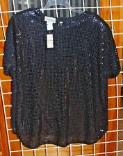 SIZE 18/20 FITTING IMAGE BLACK SEQUIN BLOUSE