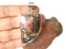 Large  RHODONITE   Sterling Silver  925  Gemstone  PENDANT