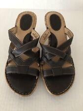 Born Brown Strap Leather Sandals Size 8M Cork Wedge Platform Soft Footbed