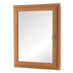 Bathroom Medicine Cabinet Fog Free Framed Recessed or Surface-Mount Oak Finish