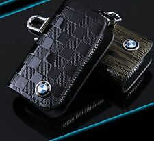 BMW Leather Car Key Keychain Fob Case Holder Zipper Case Cover Black Colour