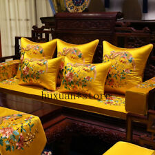 Chinese Style Sofa Cushion Qual Silk Cushion Lohan Thick Cushion Non-slip Cover