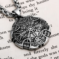 Viking Helm of Awe Shield Stainless Steel Pendant Necklace
