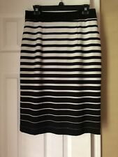 Gibson Latimer Black And White Striped Pencil Skirt Size 6 Lined
