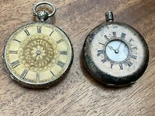 TWO ANTIQUE SOLID SILVER POCKET WATCH FOR PARTS / RESTORATION ONE MARKED OMEGA