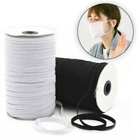 Elastic Cord Band Sewing Black White Flat 3mm 5mm 6mm 7mm 8mm 9mm Face Mask UK