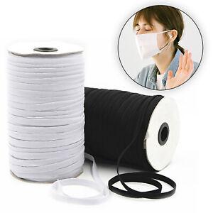 Cordon Élastique Bande Couture Noir Blanc Plat 3mm 5mm 6mm 7mm 8mm 9mm Masque GB