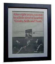 CROSBY STILLS & NASH+CSN+POSTER+AD+RARE ORIGINAL 1977+FRAMED+EXPRESS GLOBAL SHIP
