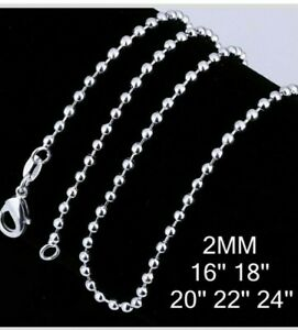 """Sterling Silver 925 Ball Bead 2mm Width Chain Necklace Sizes 16"""" 18"""" 20"""" 22"""" 24"""""""
