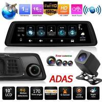 """1296P 9.88"""" GPS 4G WiFi 4Lente Auto DVR BT ADAS Dash Cam Specchietto Retrovisore"""