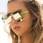 Bar Large Flat Top Designer Oversized Shield Women Sunglasses Mirrored Lens