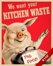 WWII SAVE FOOD WASTE FOR PIGS PROPAGANDA POSTER PAINTING REAL CANVAS ART PRINT