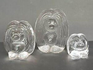 SET OF 3 BERGDALA SWEDEN FLATBACK TROLLS FAMILY