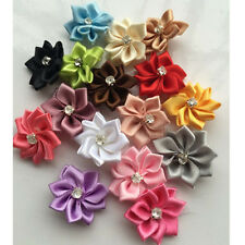 10/40/80pcs DIYSatin Ribbon Flowers Bows w/Rhinestone Appliques Craft Wedding
