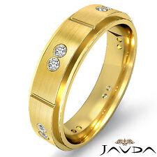 Bezel Diamond Eternity Wedding Band 14k Yellow Gold Bevel Edge Mens Ring 0.15Ct