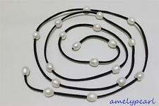 Black Leather long necklace white Freshwater  pearl 48INCH 10x12mm