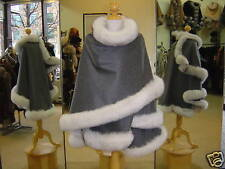 Gray Cashmere Cape With Blue Fox Fur Trim Beautifully Canadian Label