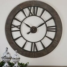 "Wall Clock 40"" Large Unique Industrial Weathered Designed New Oversized Clocks"