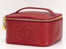 Auth CHANEL CC Caviar Skin Leather Vanity Cosmetic Bag Purse Red 18560406