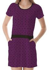 Purple Star Pattern Women T-Shirt Tee Top Dress With Pockets