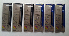 6 x Parker Quink Flow Ball Point * Jotter Refills * 3 Black & 3 Blue (M) Medium