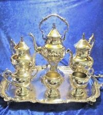 Antique Birmingham Silver On Copper Tea Set 10 Pc w/Tilting Tea Pot & Lg Tray