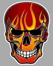 TETE DE MORT FLAMMES FLAMMING HOT ROD BIKER AUTOCOLLANT STICKER 15cmX12cm SA160